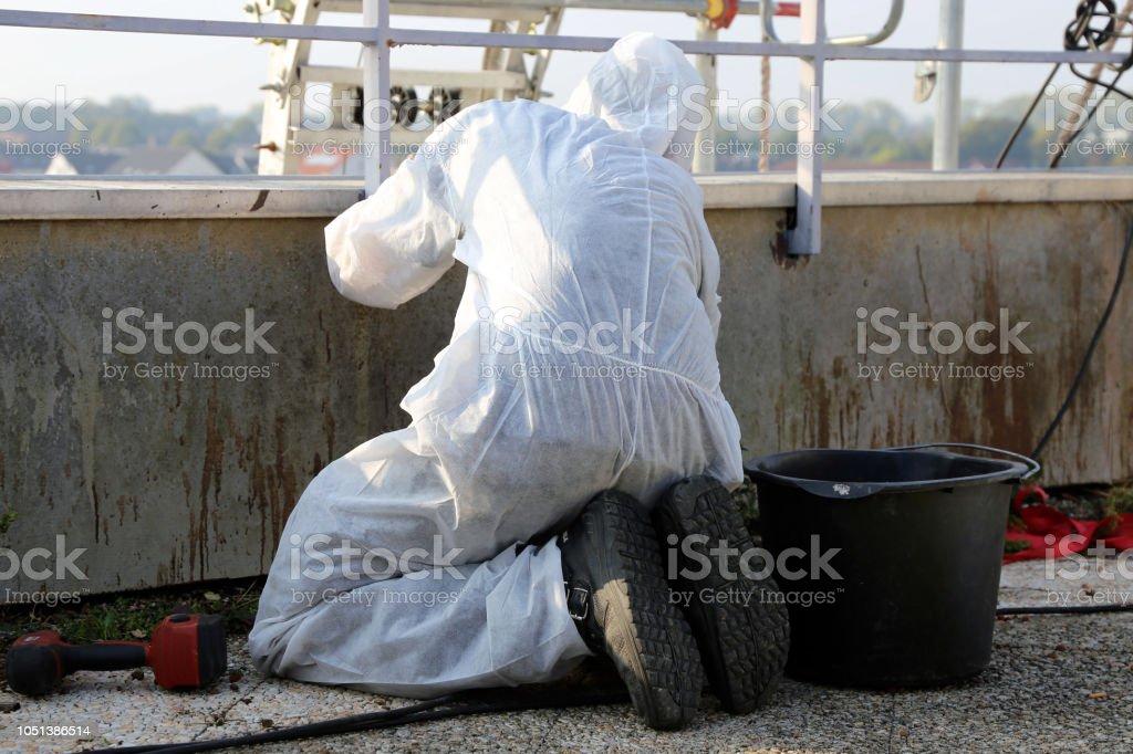 Professional asbestos abatement stock photo
