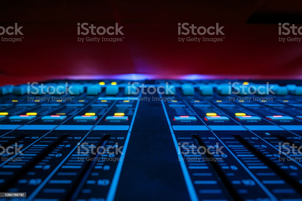 Wide angle closeup of Pro Audio Digital Mixing Console. White Faders...
