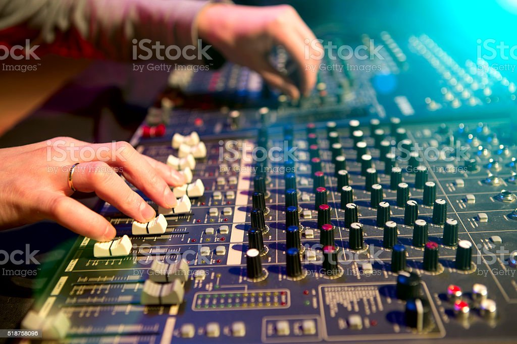 Professional audio mixing console stock photo