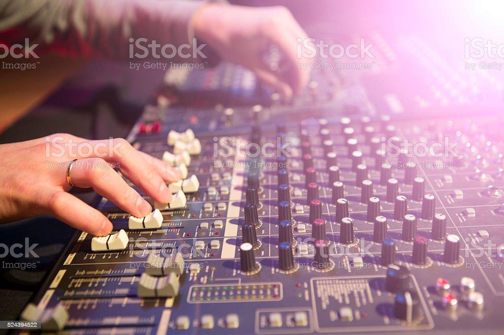 Professional audio mixing console stock photo