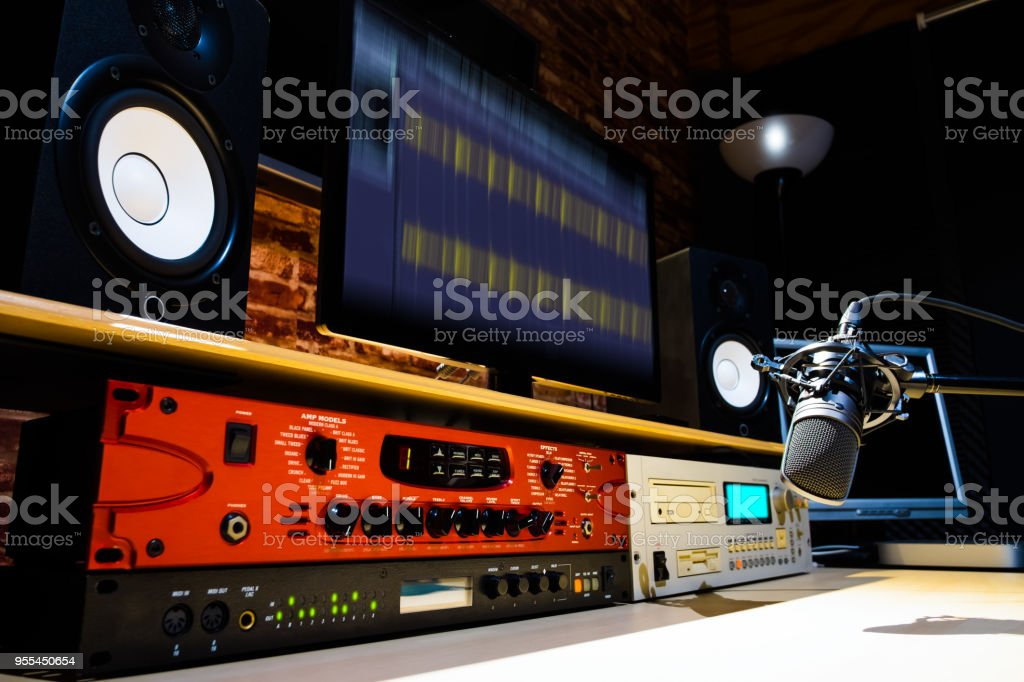 professional audio signal processor equipment in recording, broadcasting, editing, radio broadcast, voice actor studio stock photo
