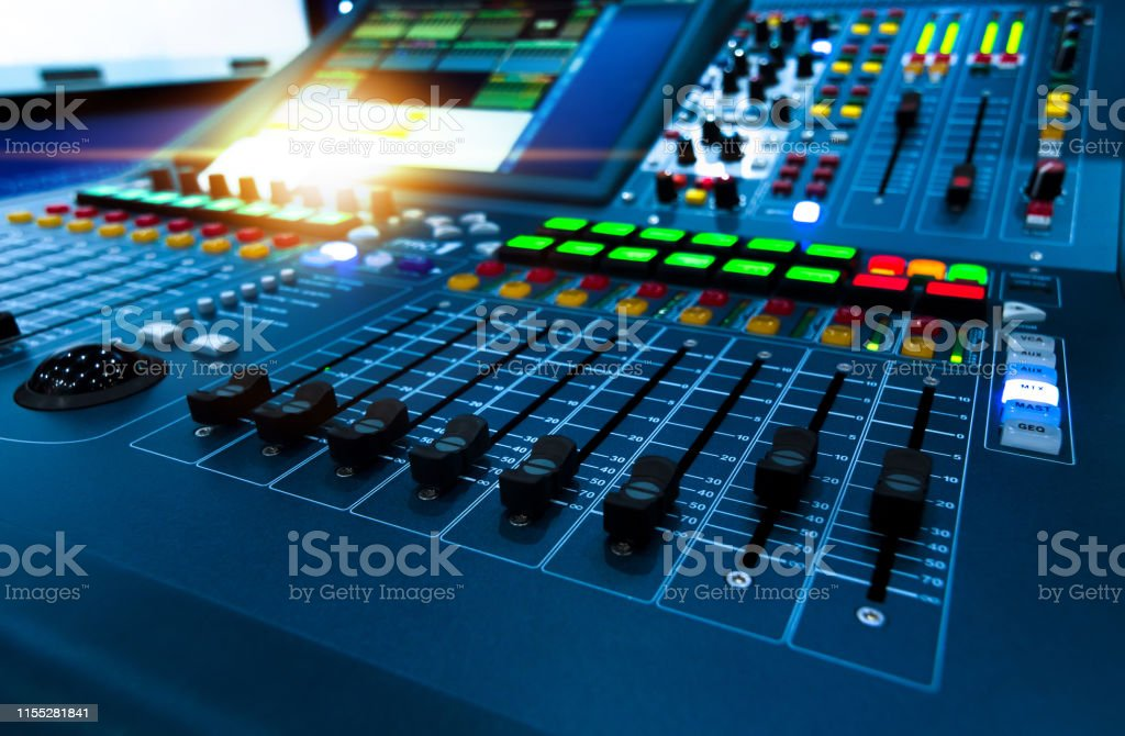 Professional audio studio sound mixer console board panel with...