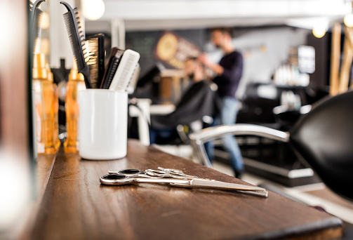 istock Professional barbers equipment 859611718