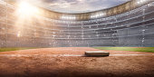 Professional baseball arena in 3D. Large softball stadium with tribunes, baseball base and a lot of fans.