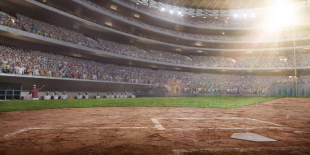 Professional baseball arena in 3D Professional baseball arena in 3D. Large softball stadium with tribunes and a lot of fans. baseball diamond stock pictures, royalty-free photos & images