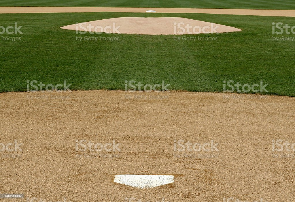 professional baseball infield view from home plate stock photo