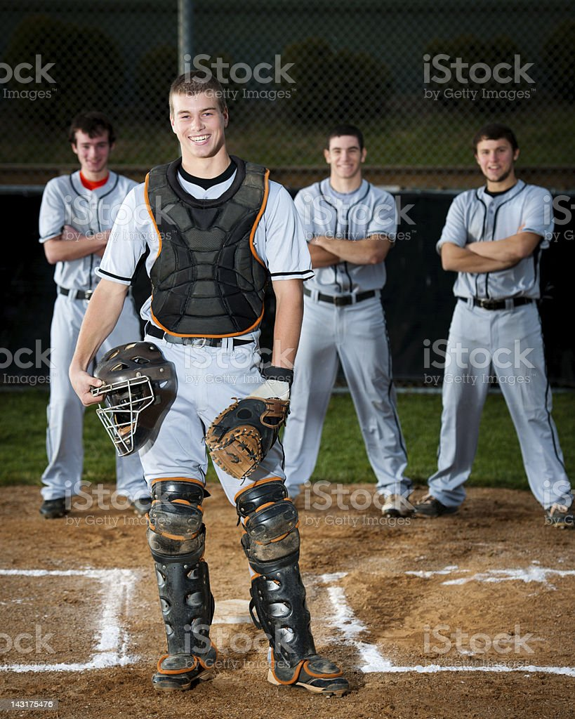 Professional Baseball Player Standing On Field stock photo
