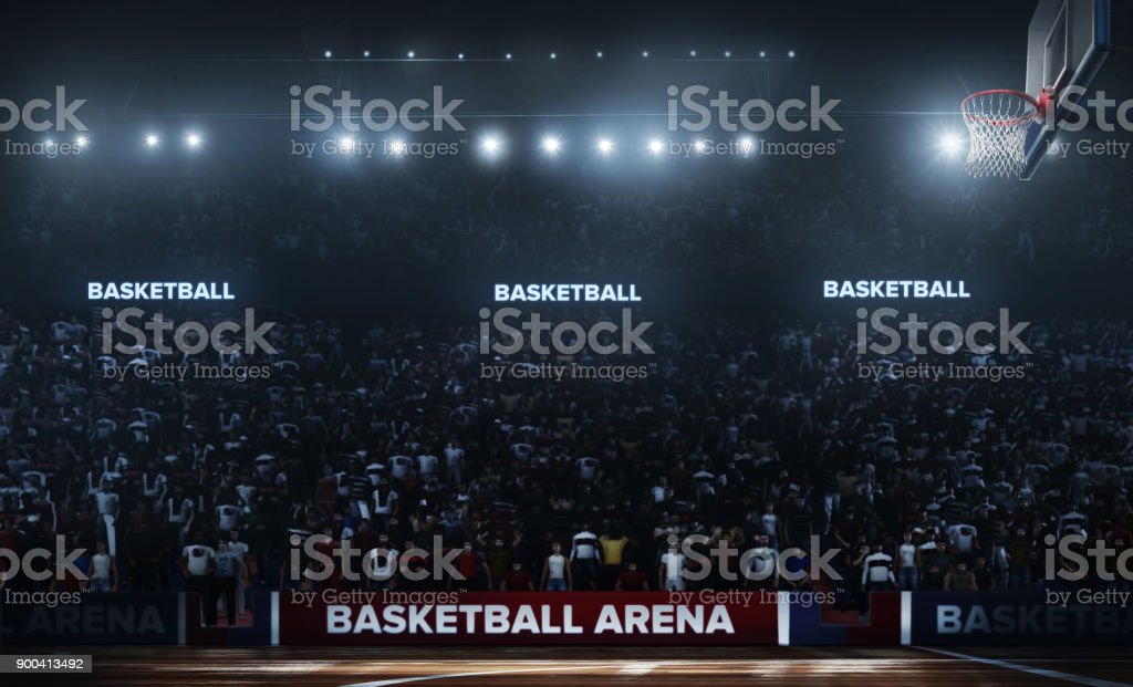 Professional basketball arena in 3D. stock photo