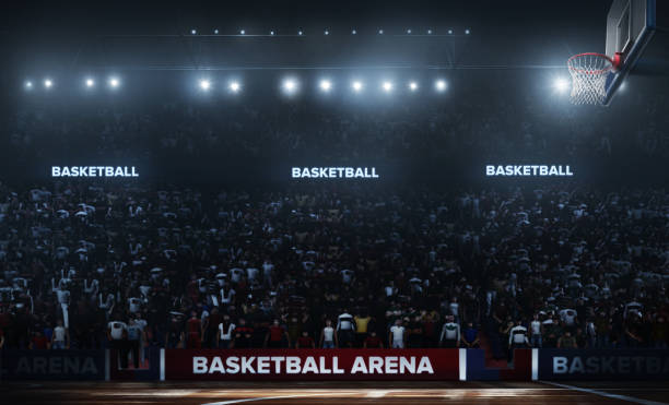 professionele basketbal arena in 3d. - speelveld stockfoto's en -beelden