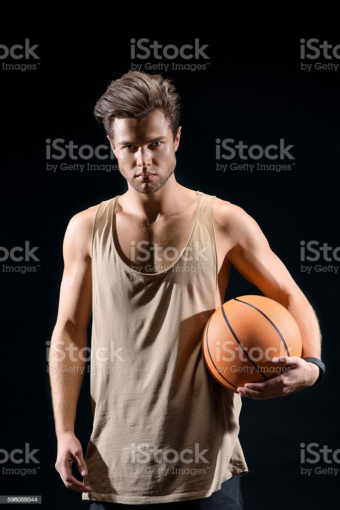 Professional basketball player ready to compete royalty-free stock photo