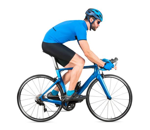 Profi-Radrennradfahrer Rennfahrer im blauen Sporttrikot auf leichtem Carbon-Rennzyklus. Sportübung Training Radfahren Konzept isoliert weißen Hintergrund – Foto