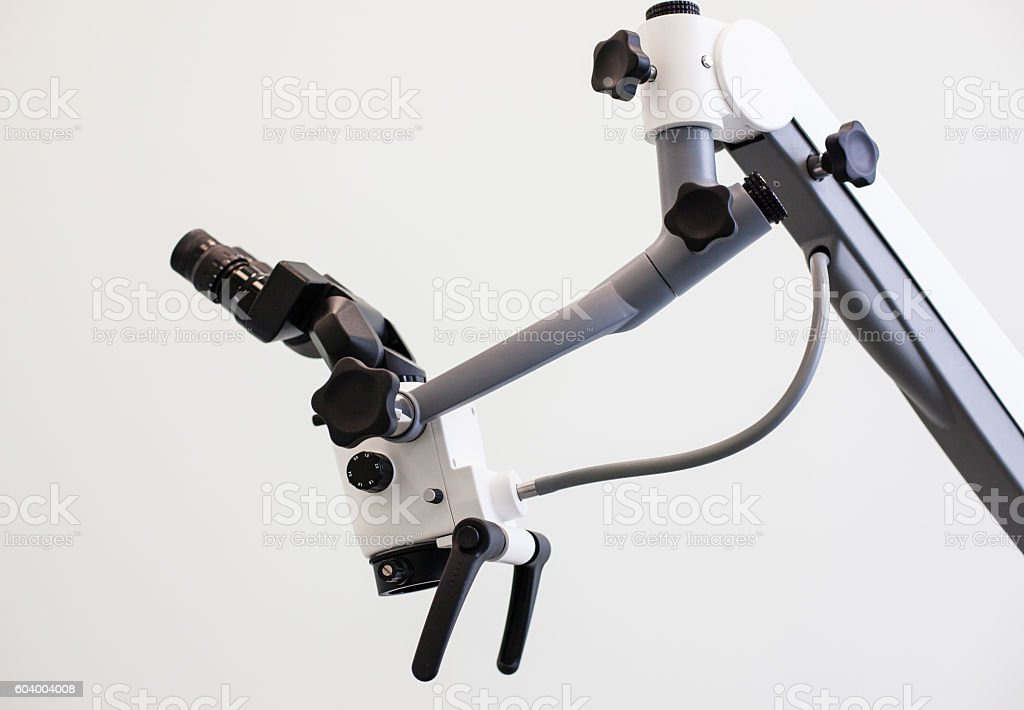 Professional binocular microscope for dentists stock photo