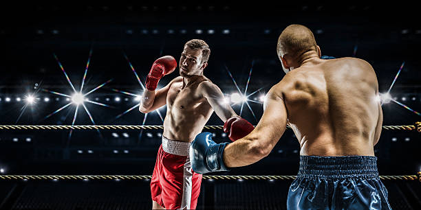 Professional box match . Mixed media stock photo
