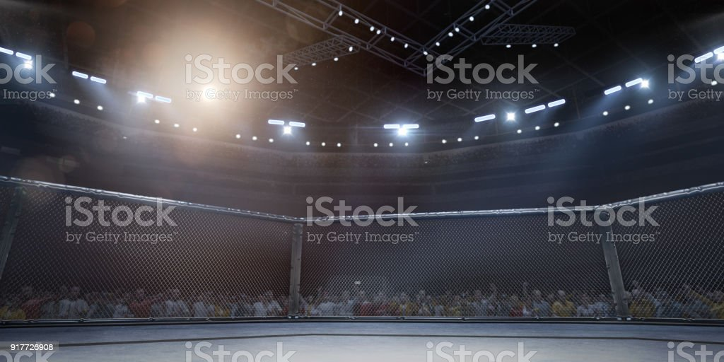 Professional boxing ring in 3D - Foto stock royalty-free di Ambientazione interna