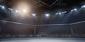 Professional boxing ring in 3D with tribune, fans and rays of light