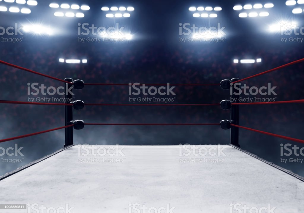 Professional boxing ring stock photo