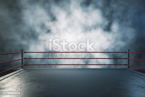 Professional boxing ring in foggy interior. Sport and challenge concept. 3D Rendering