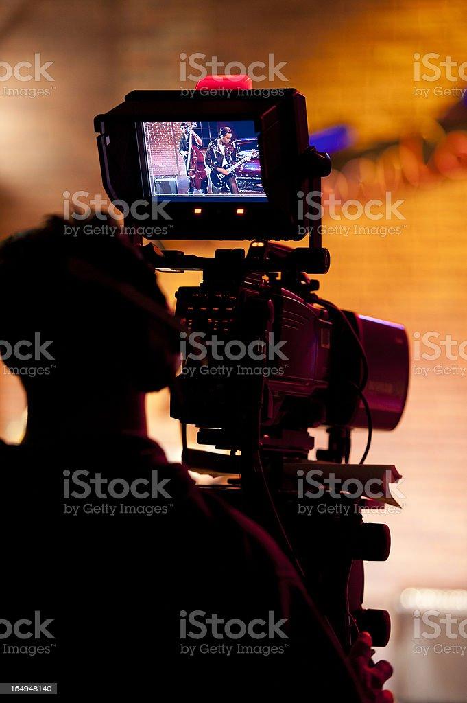 Professional broadcast video camera in studio stock photo