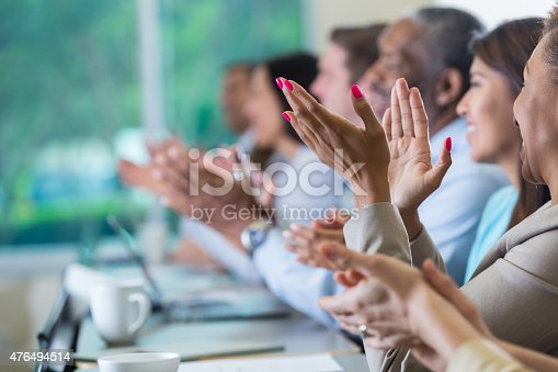 istock Professional business people applauding speaker at seminar or conference 476494514