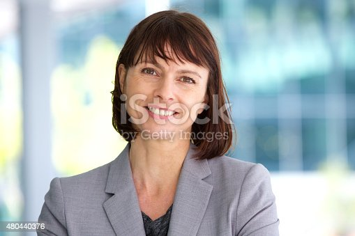 istock Professional business woman smiling outdoor 480440376