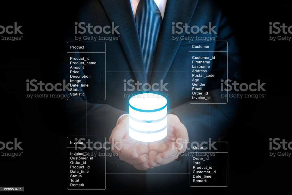 Professional businessman connecting network and database on hands in technology and business concept royalty-free stock photo
