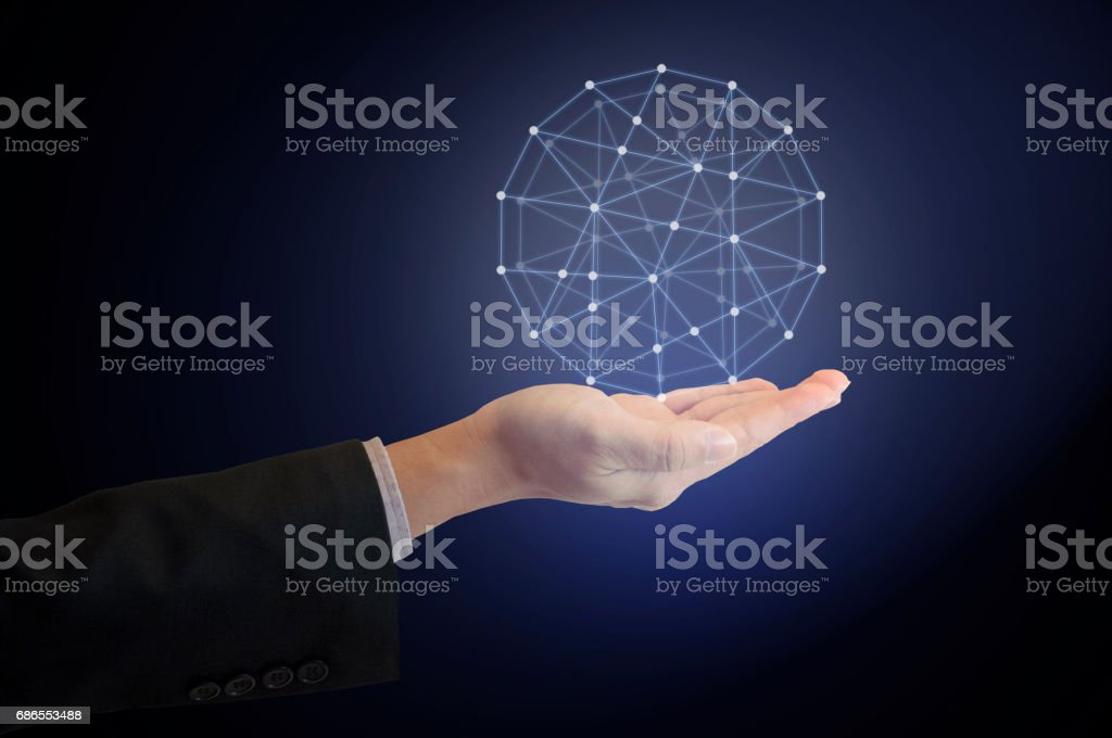 Professional businessman hold world network and technologies connecting in the world on his hand royalty-free stock photo