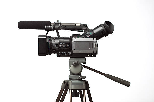 professional camcorder isolated stock photo