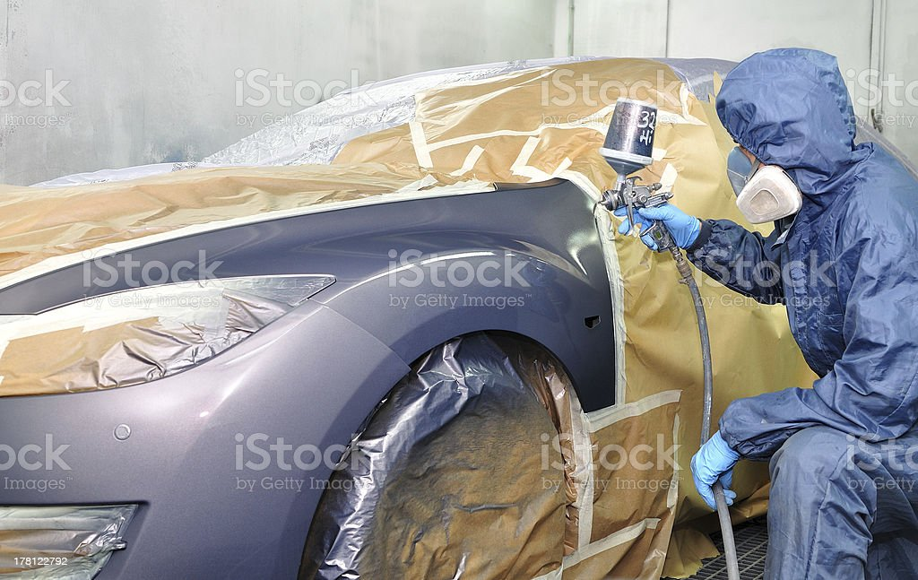 Professional car painting. stock photo