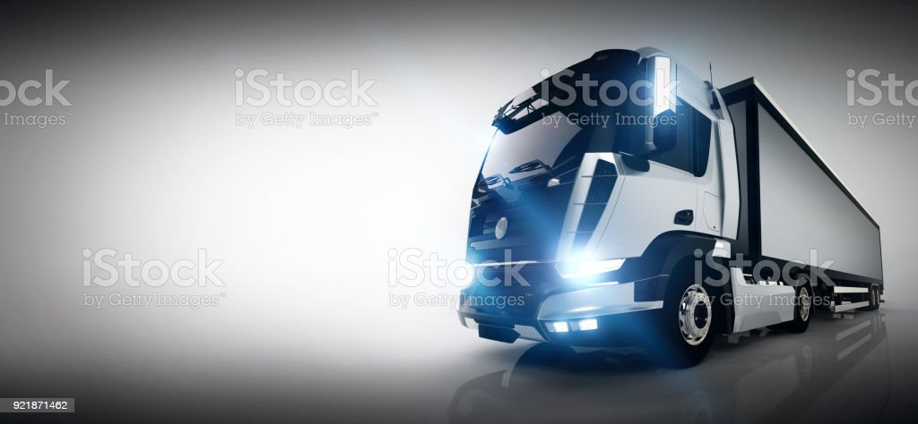 Professional cargo delivery truck with long trailer. Banner stock photo