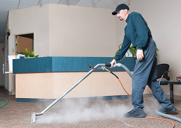 Professional Carpet Cleaner - Man Steam Cleaning stock photo