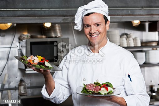istock Professional chef with gourmet appetizers 183433314