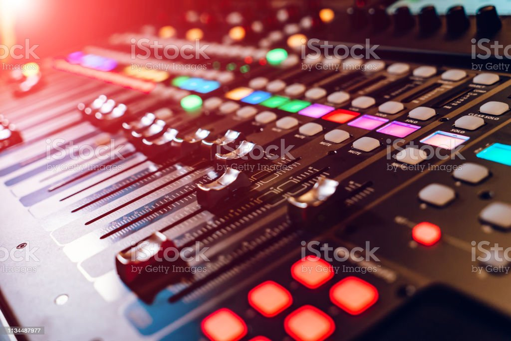 Professional concert mixing console. Music record studio. Close-up