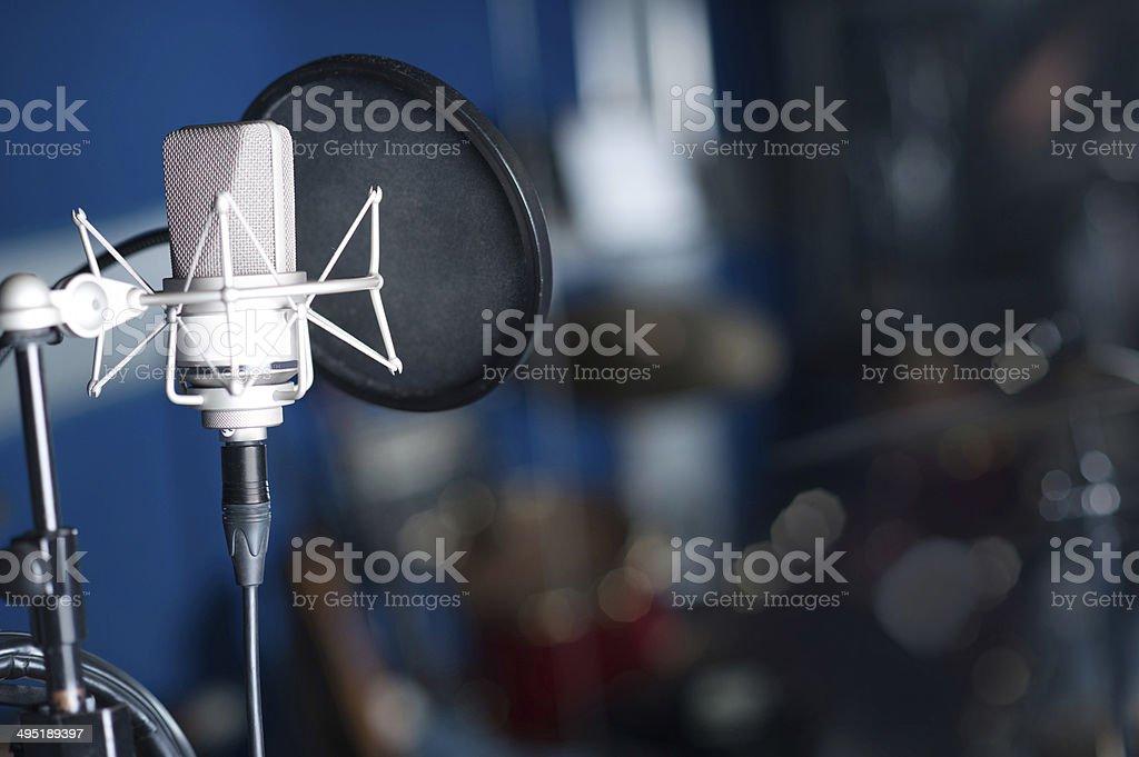Professional condenser studio microphone stock photo