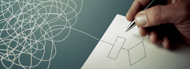 專業顧問 – 用紙和筆解決問題 - 寬屏 - 流程圖 個照片及圖片檔