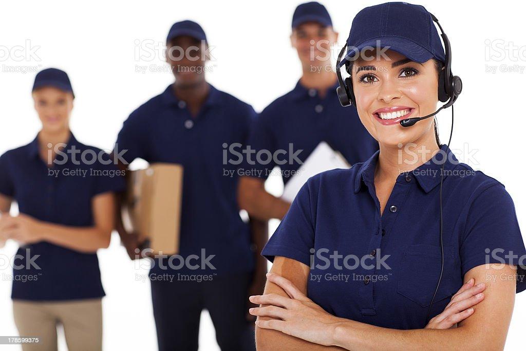 professional courier service dispatcher stock photo
