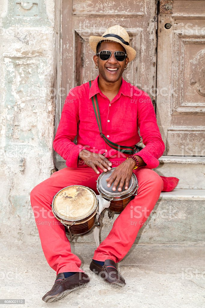 Professional Cuban Conga Drum Player stock photo