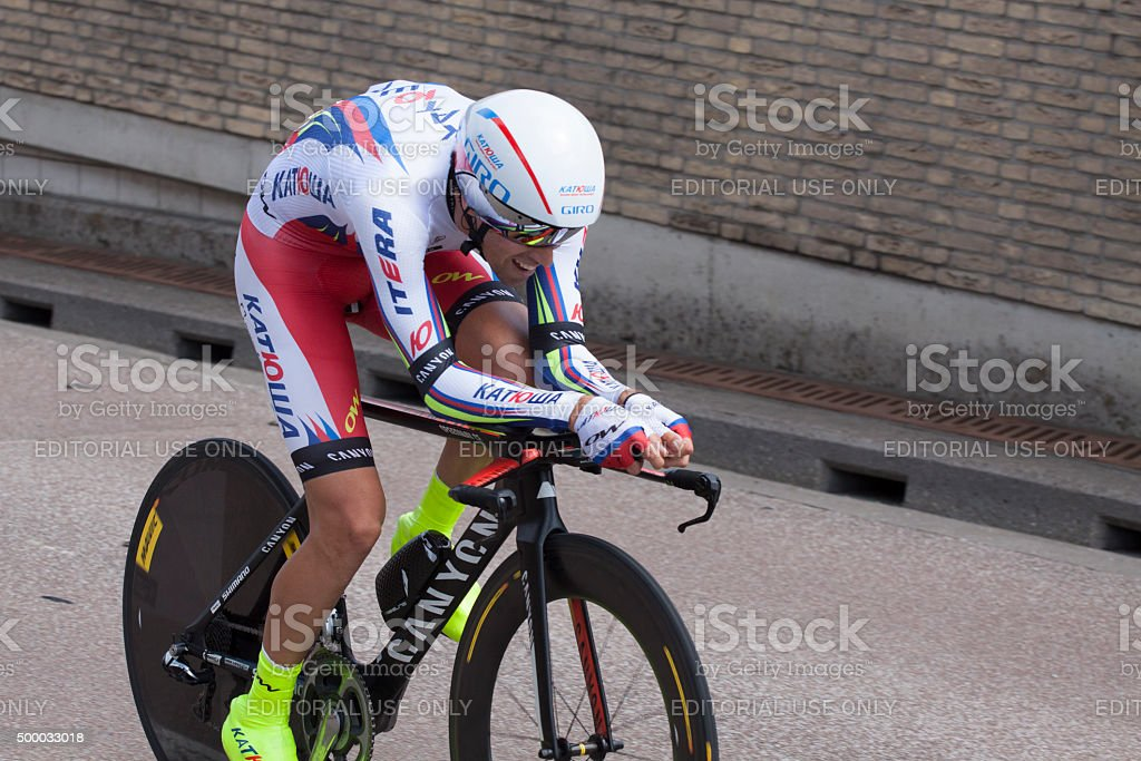 Professional cyclist during the tour de france stock photo