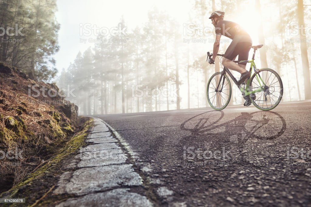 Professional Cyclist on a forest road stock photo