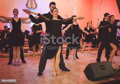 istock Professional dancers performing cabaret show 904403528