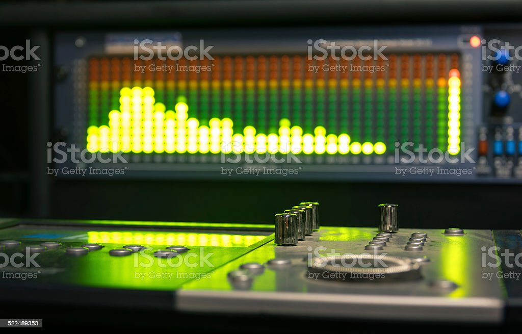 Professional deejay equipment with music mixing controller stock photo
