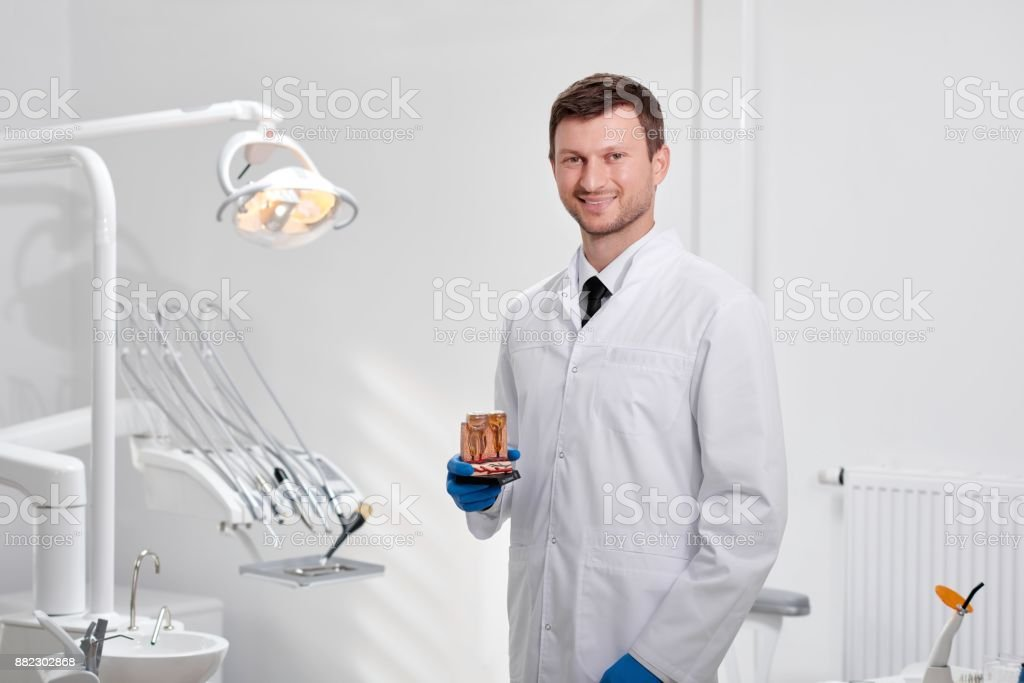 Professional dentist at his clinic stock photo