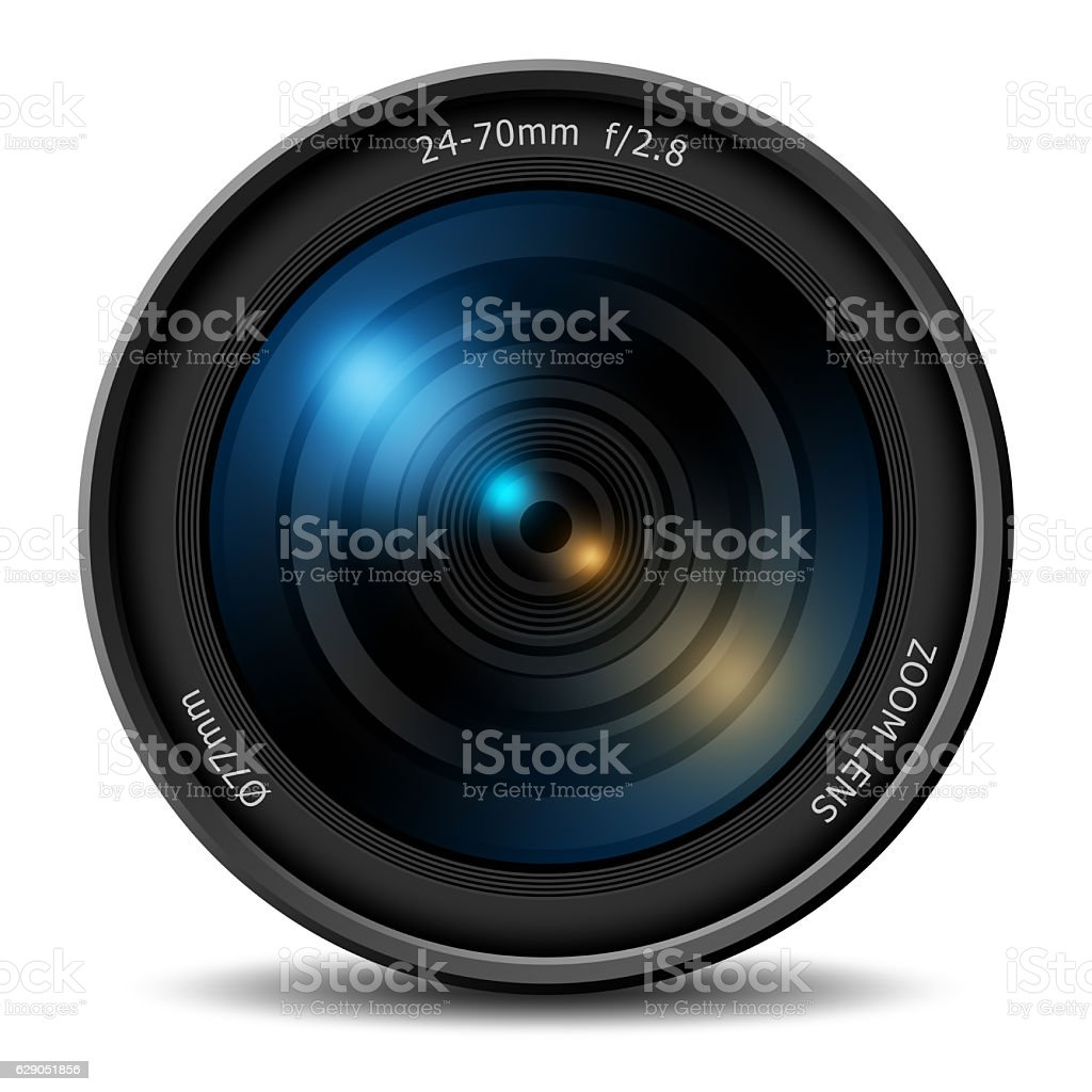 Professional digital camera zoom lens stock photo