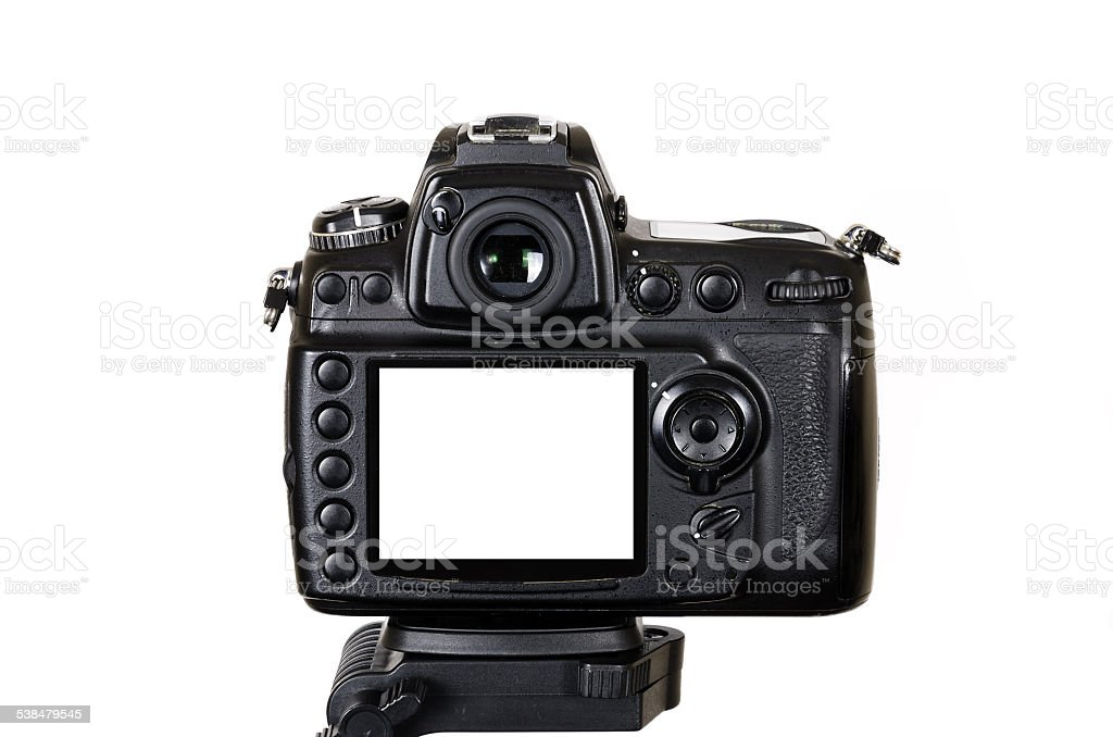 Professional digital  SLR camera on tripod with blank screen isolated stock photo