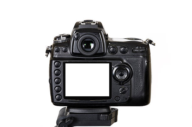 professional digital  slr camera on tripod with blank screen isolated - digital viewfinder stock photos and pictures