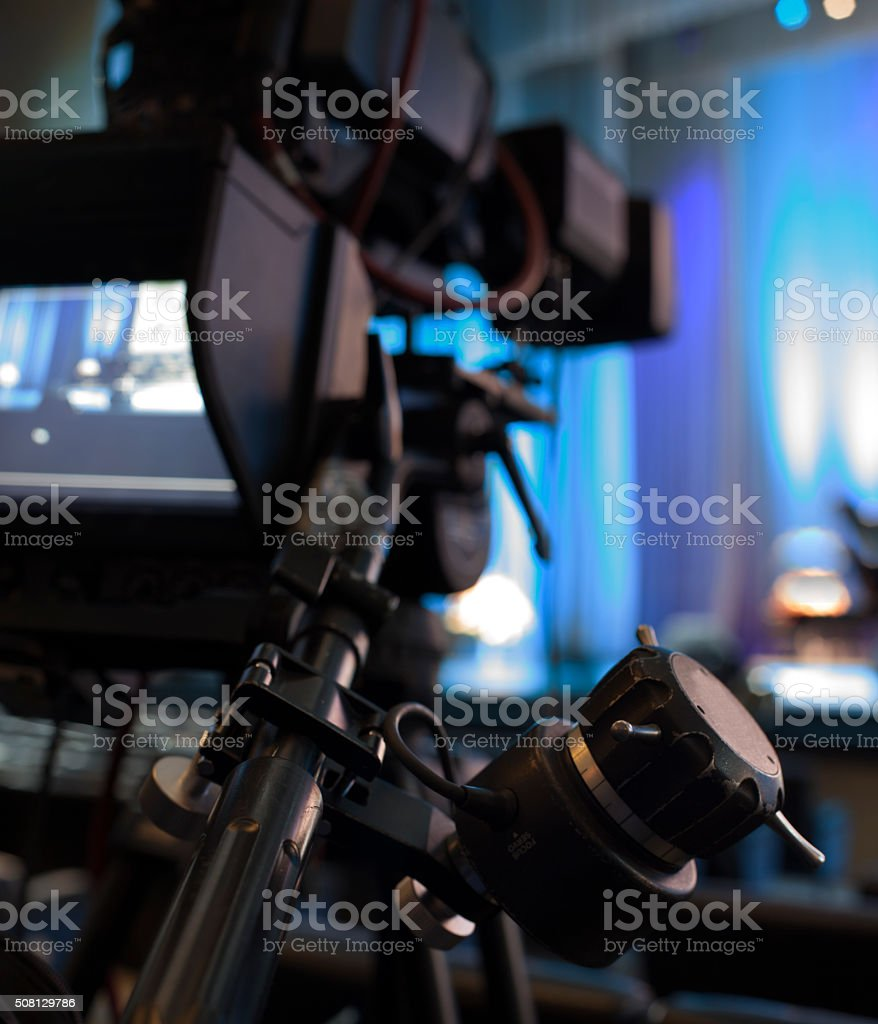 Professional digital video camera. accessories for 4k video cameras. stock photo