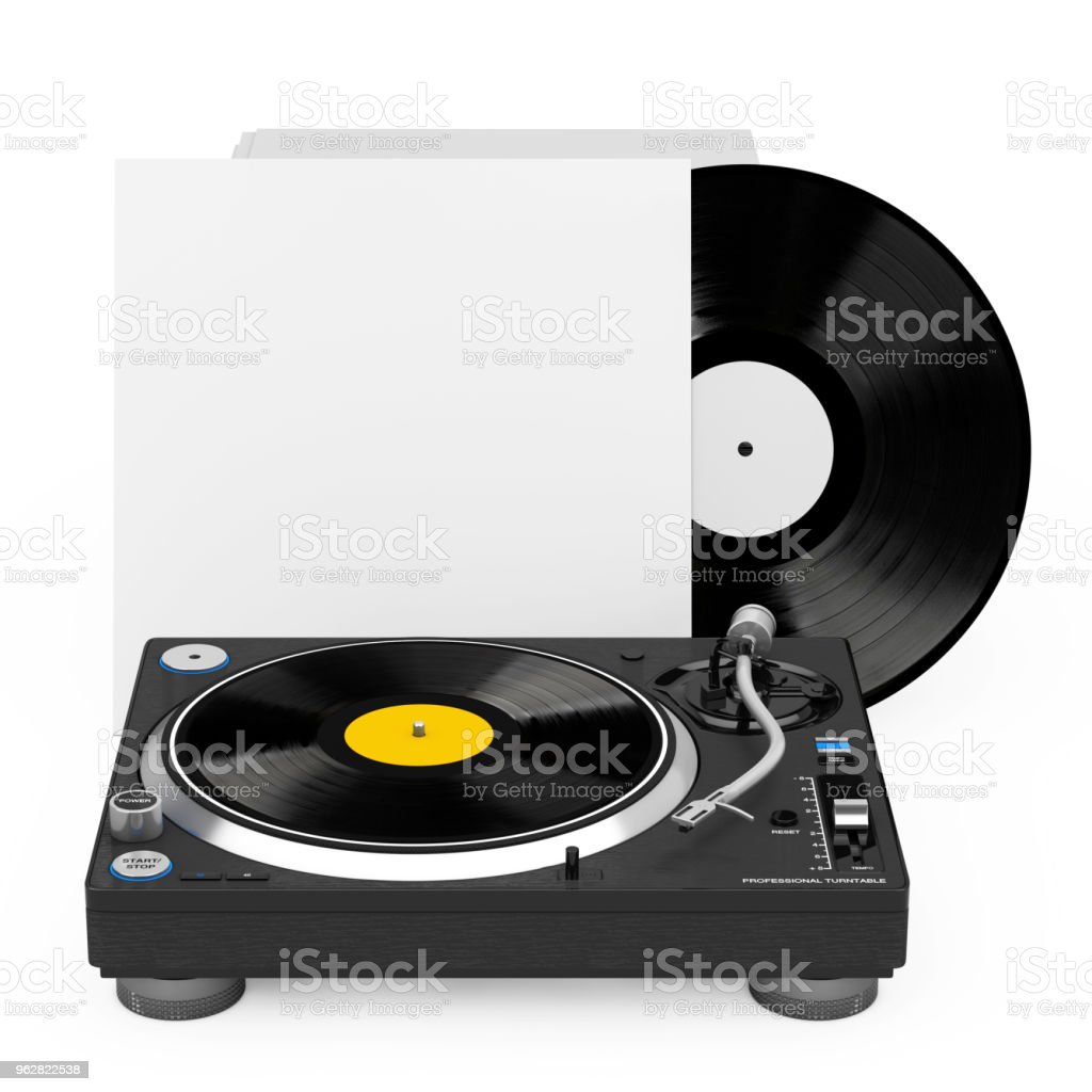 Professional DJ Turntable Vinyl Record Player near Stack of Vinyl Disks in Blank Paper Cases. 3d Rendering - Foto stock royalty-free di Analogico