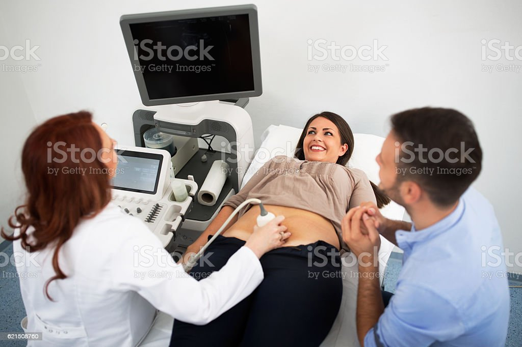 Professional doctor examining female abdomen photo libre de droits