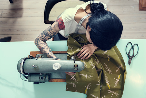 Professional Dressmaker At Work Stock Photo - Download Image Now