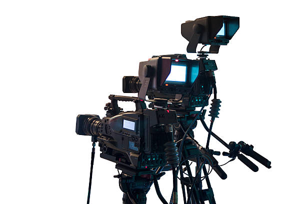 Professional DSLR, digital video camera on white background stock photo