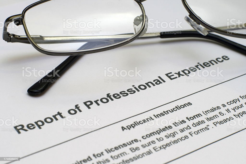 Professional experience form royalty-free stock photo